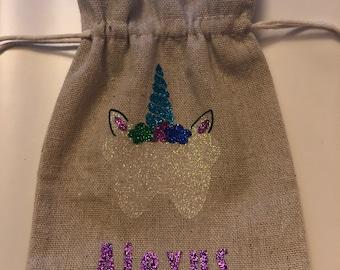 Custom unicorn tooth fairy pouch
