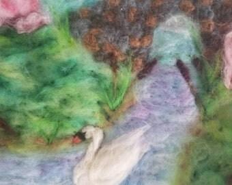 Summer Swan- Needle Felted Wool Painting Merino