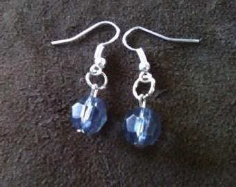 Blue faux crystal earrings