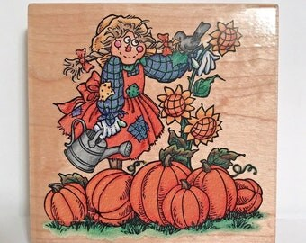 """Stampendous WO18 """"Samantha Scarecrow"""" Rubber Stamp 1998 NEW condition never used"""