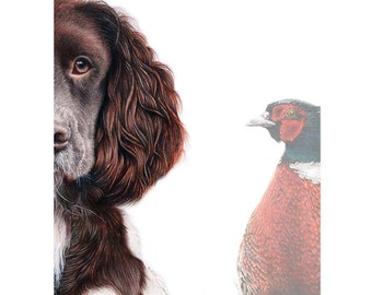 Spaniel and Pheasant, Signed, Limited Edition, Mounted print