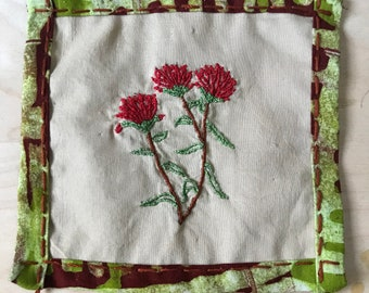 Hand Embroidered Castilleja (Indian paintbrush)