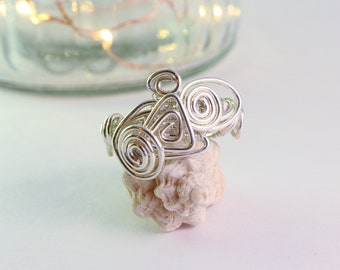 Silver plated copper wrapping wire ring