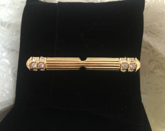 Goldtone Crystal Bar Pin