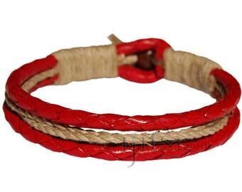 Braided Red leather & natural hemp bracelet or anklet