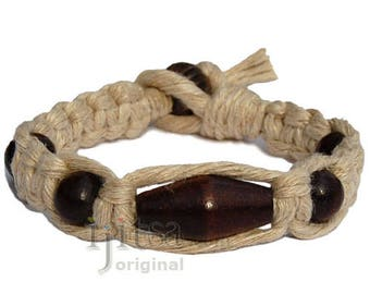 Natural flat wide hemp bracelet with Dark brown wooden beads