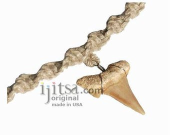 Natural twisted hemp necklace genuine Moroccan shark tooth