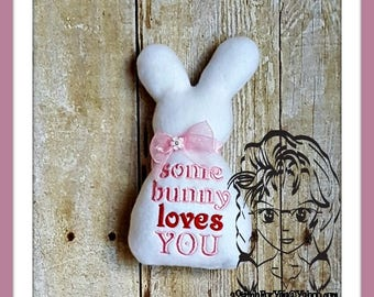 BUNNY Toy - Some bunny loves you  ~ 3D Plush Softie ~ In the Hoop ~ Downloadable DiGiTaL Machine Embroidery Design by Carrie