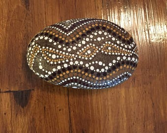 Aboriginal Dot Art Hand Painted River Rock