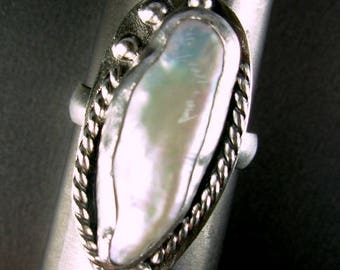 Freshwater baroque pearl FABULOUS IRRIDESCENT  sterling silver 925 ring half moon wire band  shank  by silversmith Chelle' Rawlsky size 10+