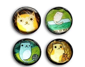 ON SALE Magnet Set - Cat glass magnets, cat fridge magnet, cat magnets set, cat refrigerator magnets, handmade magnet
