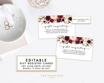 Editable Gift Registry Insert or Gift Registry Card  | Printable Wedding, Bridal or Baby Shower Insert | Roses | Holly Collection - PDF File