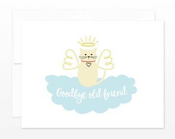 Cat Sympathy Card - Goodbye Old Friend - Pet Sympathy, Condolences, Pet Loss, Best Friend Card