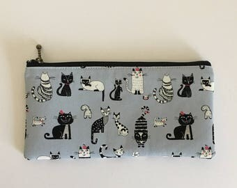 Flat  zipper pouch  -cats in grey
