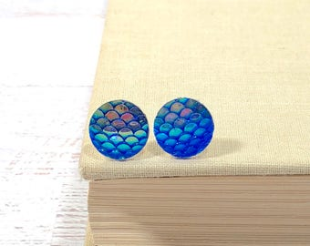 Iridescent Fantasy Blue Dragon Scale Mermaid Tail Studs with Surgical Steel Posts (SE16)