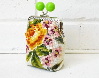 Large Wide-base Kisslock Coin Purse Card holder handmade with Vintage Floral Needlepoint Tapestry. Upcycled. One of a kind.
