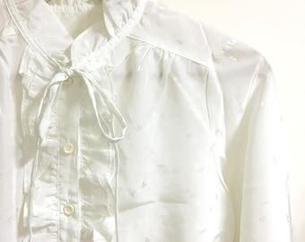 sale*Victorian collar tie neck ruffle collar blouse white /s