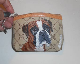 Boxer dog Hand Painted Coin Purse Mini Wallet Change purse