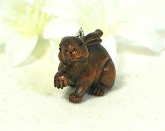 Bunny Necklace Bunsanova - Ojime Rabbit Necklace - Rabbit Jewelry - Pet Bunny Rabbit Pendant -Netsuke Bunny Pendant -Woodland Animal -Nature