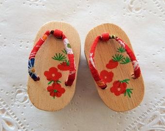 Miniature Vintage Japanese Wooden Sandals ~ Sakura Geta Shoes ~ Doll Supplies