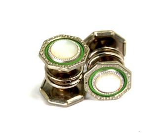 Antique Art Deco Snap Cufflinks Double Sided Mother of Pearl Green Celluloid Silver Tone Round Signed SNAP LINK Circa 1920