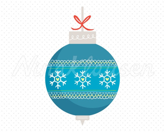 Blue Christmas Bauble Clipart for Commercial Use - 0004