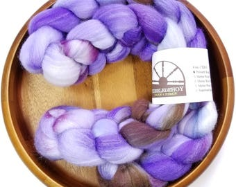 Lilacs - hand-dyed Polwarth wool and silk (4 oz.) combed top roving