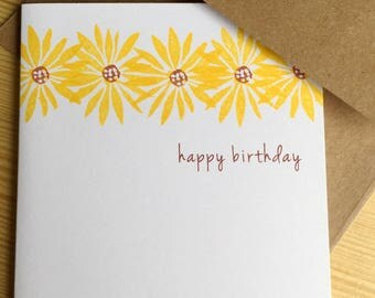 Black Eyed Susans Birthday Card - Yellow Daisy Happy Birthday Card - Floral Birthday Greeting Card - Hand Printed Greeting Card