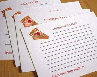 Pie Recipe Cards - 3.14 Pi Recipe Cards - Dessert Recipe Cards - Math Recipe Cards - Hand Printed Recipe Cards - Set of 5