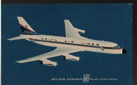 Delta's Convair 880 World's Fastest Jetliner - Vintage Airplane Photo Postcard
