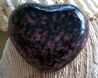 Fused Glass Heart Cabochon, Heart of Glass Pink and Black, Glass Cab,  Willow Glass