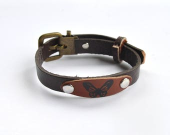 Butterfly Leather Cuff Wristband Bracelet Brown Narrow Adjustable One Size Fits Most
