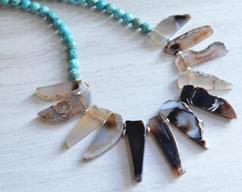 The Jenna- Black Agate and Turquoise Statement Necklace