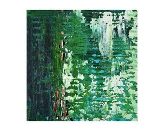 """ORIGINAL 12x12"""" Abstract Painting on canvas mounted to a wood panel by artist Lisa Carney, Emerald Green Modern Decor, Colorful Wall Art"""
