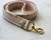 pink lanyard - gold lanyard - arrows print - teachers lanyard - work ID lanyard - pink and gold lanyard - hook clasp lanyard - under 15 gift