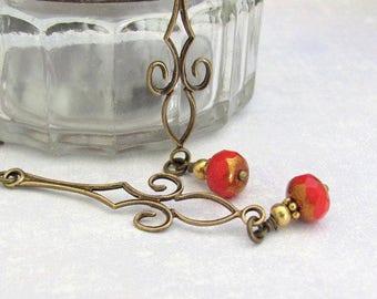 SALE Art Deco Earrings, Red Art Nouveau Dangle, Long Red Earrings, Dainty Dangle Earrings, Hawaii Beads Jewelry, Chandelier Earrings