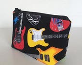 FINAL MARKDOWN Music teacher gift, band director gift, makeup bag, cosmetics bag, guitars, zipper pouch, zipper bag, toiletry bag, deesdeezi