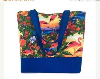 FINAL MARKDOWN Large handbag, Shoulder bag, Tote bag, flamingo Tote, royal blue,  Tote bag with pockets, womens handbag, handmade, purse