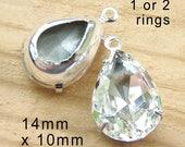 Crystal Glass Beads - 14x10 Teardrops - 14mm x 10mm Pear - Rhinestone Earring Jewels or Pendants - Bridal and Wedding Jewels - One Pair