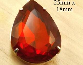 Red Glass Pendant - 25x18 Teardrop - Pear or Teardrop Glass Jewel - Brass or Silver Setting - Rhinestone Pendant - Jewelry Supply