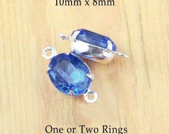 Sapphire Blue Vintage Glass Beads - 10x8 Oval - 10mm x 8mm Rhinestones - Silver or Brass Settings - Jewelry Supply - One Pair