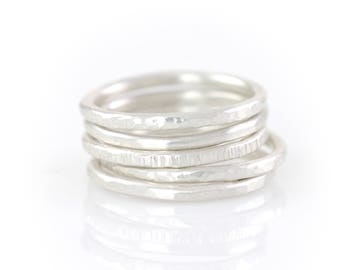 Argentium Sterling Silver Stacking Rings - Made to Order in different textures