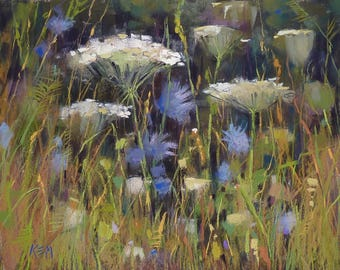 Summer Landscape Queen Annes Lace  Wildflowers with Chicory Original Pastel Painting Karen Margulis 11x14
