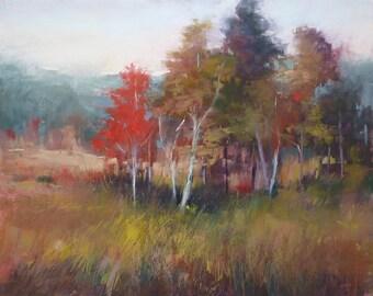 Autumn MAINE  Landscape Red Trees  Original Pastel Painting  Karen Margulis 16x20