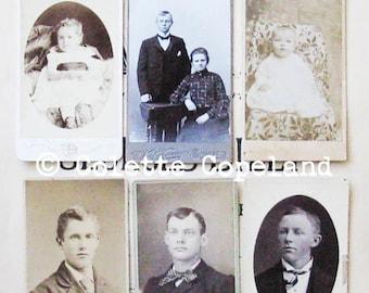 Victorian cabinet cards, cartes de visite, authentic antique photos, set of 6