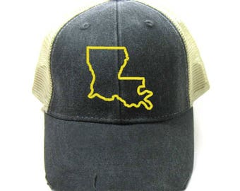 Louisiana Hat - Distressed Snapback Trucker Hat - Louisiana State Outline - Many Colors Available