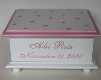 Baby Keepsake Box Baby Memory Box pink stars personalized hand painted baby girl gift