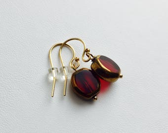 Red Glass Drops with 14K Gold-fill Earwires (Alexandra)