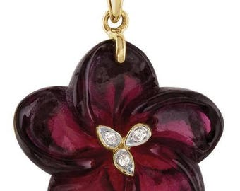 14kt yellow gold carved brazilian garnet & diamond flower pendant/necklace