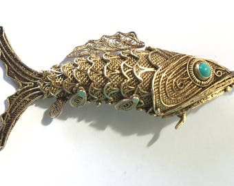 Chinese export Koi fish pendant vinaigrette. Gold over silver. Turquoise eyes